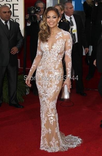 Transparent Jennifer Lopez Dress Floor Length Train Mermaid