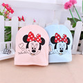 35cm Mickey Baby Bucket Hat Unisex Newborn Double Layer Cotton Baby Cap Solid Pink Blue Infant Props Accessories