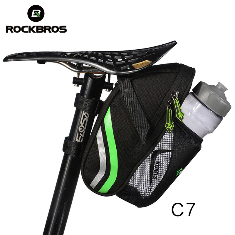 ROCKBROS Bicycle Bike Rear Bag Rainproof Nylon Bike Saddle Tube Bag Outdoor Cycling Mountain Bike Back Seat Tail Pouch Package roswheel bike saddle bag waterproof bicycle bag rear seat pouch quakeproof mountain cycling saddle seatpost tail pouch package