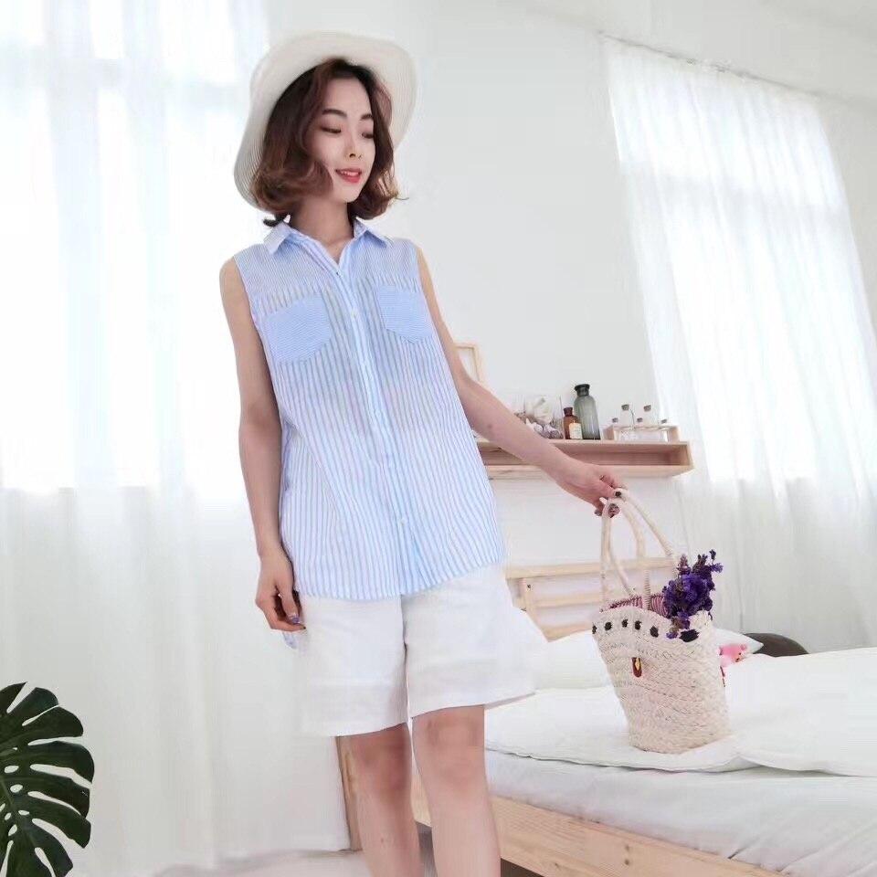 Ladies Sleeveless Vertical Striped Blouse Shirts Summer 2017 Button