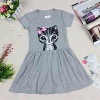 FagorBears Gorąca Sprzedaż Letnia Sukienka Dziewczyny Kot Drukuj Szary Baby Girl Dress Dzieci Odzież Sukienki Dla Dziewczynek Ubrania dla Dzieci Hurtownia