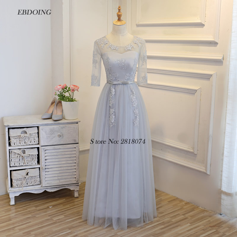 Robe de soiree Stunning Silver gray A-line Formal   Dresses   Scoop Neckline Vestidos de festa With Lace Appliques   Evening     Dresses
