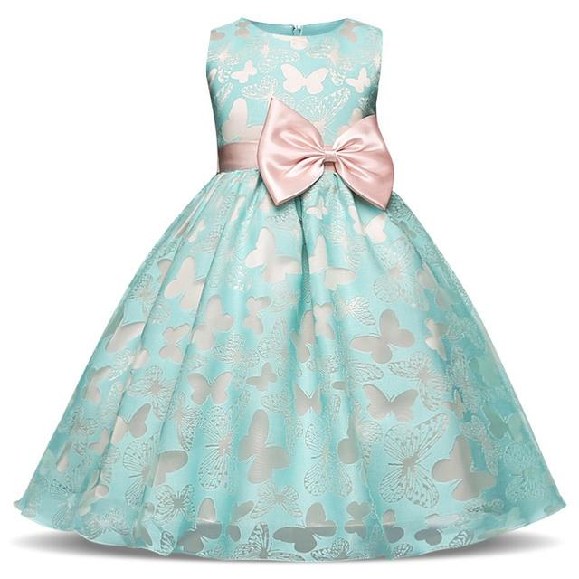 Fancy Butterfly Kids Girl Wedding Flower Girls Dress Princess Party