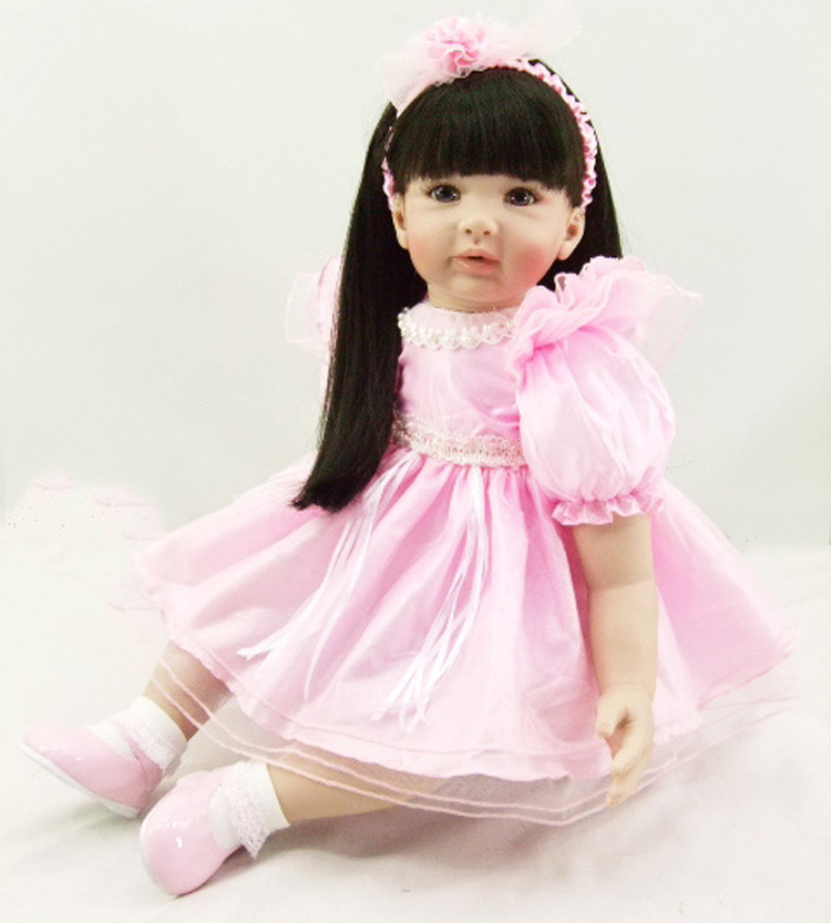 Pursue 24/ 60 cm Black Hair Princess Toddler Silicone Reborn Girl Baby Doll Toys Lifelike Vinyl Baby Doll Girls Birthday Gift lifelike american 18 inches girl doll prices toy for children vinyl princess doll toys girl newest design