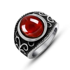 Королевское волшебное кольцо с красным гранатом, Винтажное кольцо в стиле панк, мужское титановое кольцо из нержавеющей стали с красным фиа...