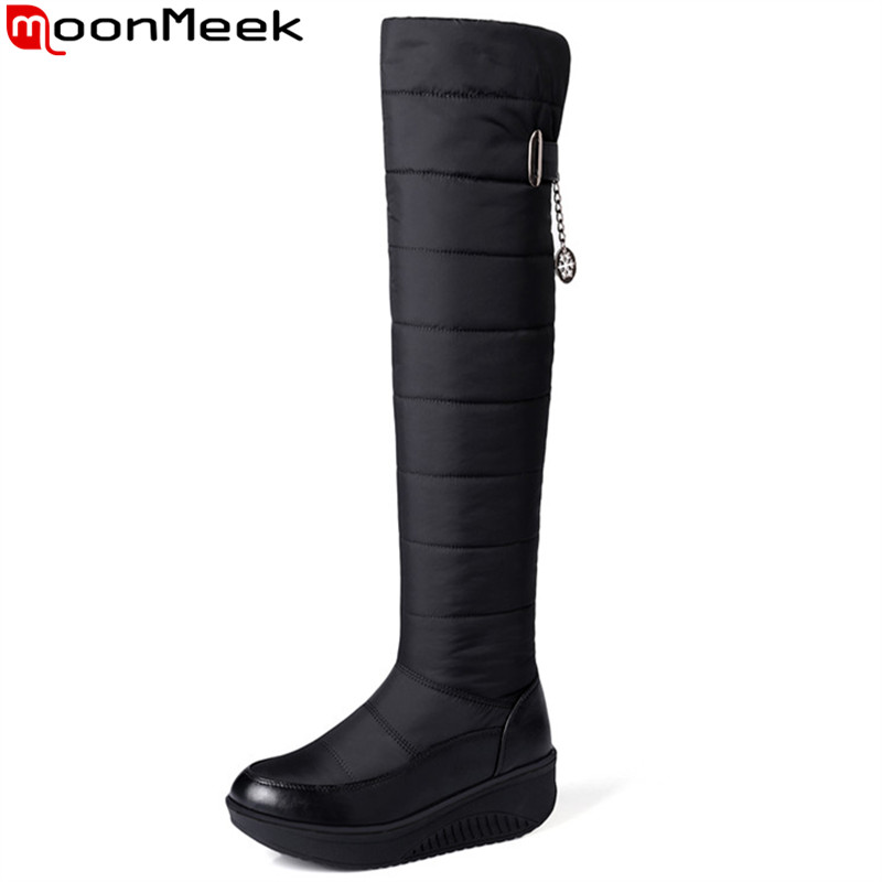 MoonMeek winter new arrive women boots black blue Down waterproof Keep warm snow boots round toe knee high boots plus size 35-44 fawn warm women s snow boots ming blue size 37