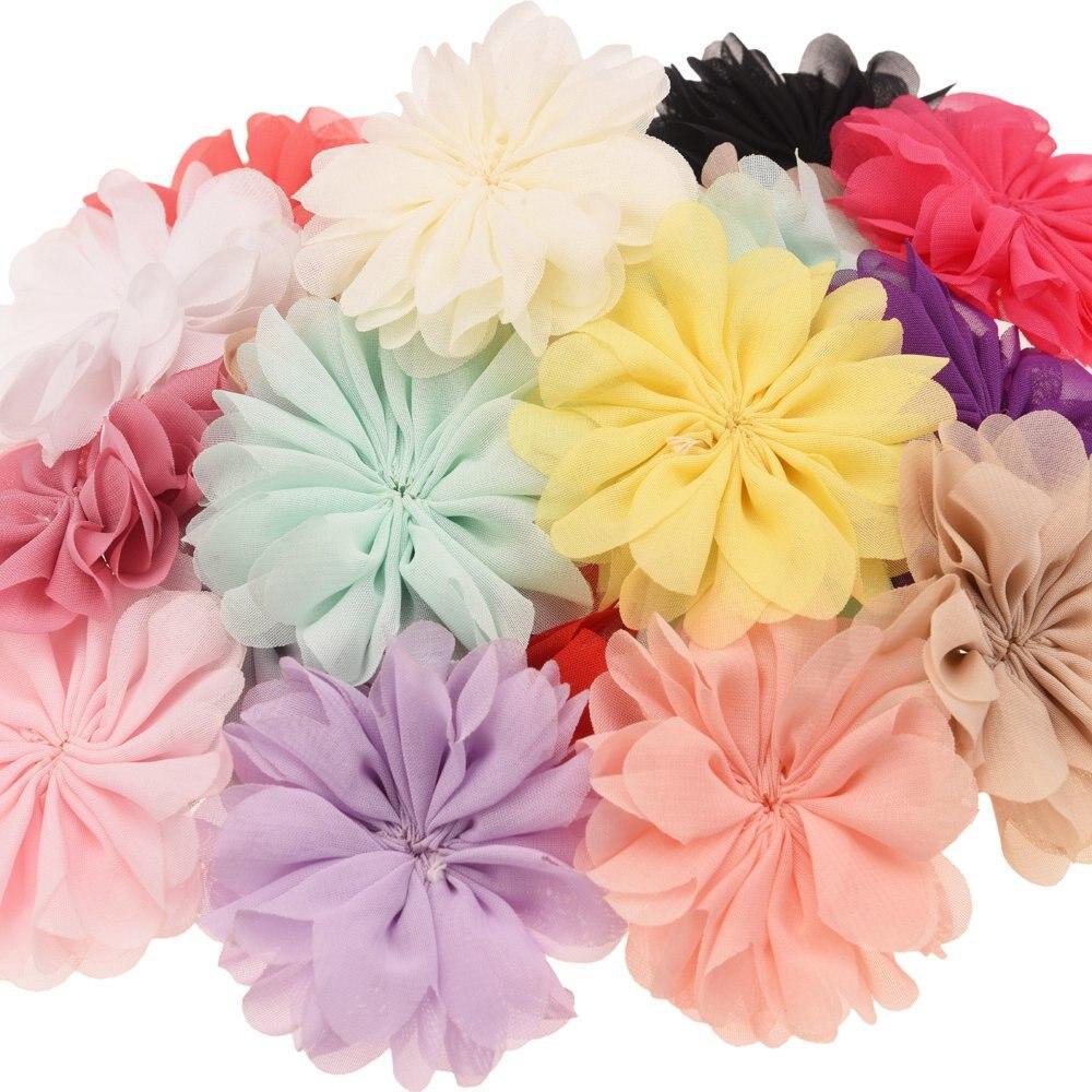 16PCS Rosette Flower Boutique 7cm Puff Flower Chiffon Flowers Hair Accessories Boutique Accessory Headwear No Clips No Barrette