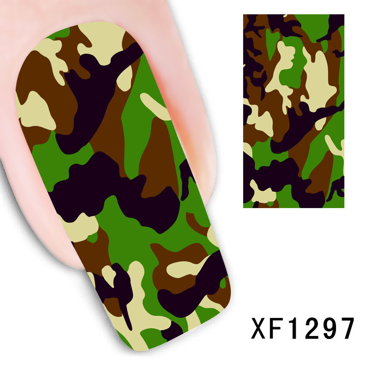 Camouflage design Water Transfer Nails Art Sticker decals lady women manicure tools Nail Wraps Decals wholesale cute cartoon mickey design water transfer nails art sticker decals girl women manicure tools nail wraps decals wholesale