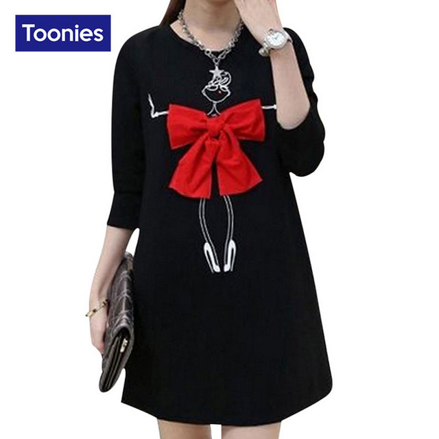 Hot Sale 2016 Autumn Women Dress Thick Maternity Clothes Long Sleeve Fashion Female Vestidos Kawaii Bow Loose Nursing Dress