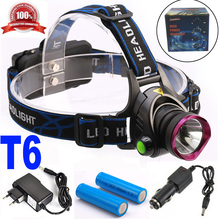 LED CREE XM-L T6 Headlight 3000 Lumens Headlamp Rechargeable Head Light Lamp+ 2 x 18650 Battery +Charger