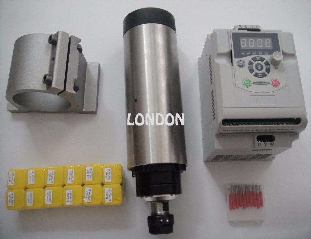 CNC Шпиндельный комплект ER20 2.2KW воздушного охлаждения шпинделя + 1 шт. 2.2KW VFD инвертор + поддержка шпинделя + ER20 цанги + ЧПУ Биты для гравировки