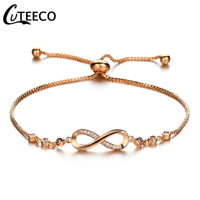 0c4cb9796c124 US $0.99 30% OFF|CUTEECO European Lady Infinity Charms Bracelet 2018 Hot  Sale Cubic Zirconia Fit Pandora Bracelets for Women Fashion Jewelry-in  Charm ...