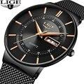 LIGE популярные мужские спортивные часы Топ бренд класса люкс ультра тонкие повседневные водонепроницаемые часы Кварцевые полностью стальн...