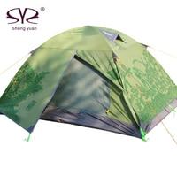 Отдых на открытом воздухе палатка 2 человек двухслойные Китай Дизайн водонепроницаемый складной Алюминий стержень двойной двери Рыбалка П