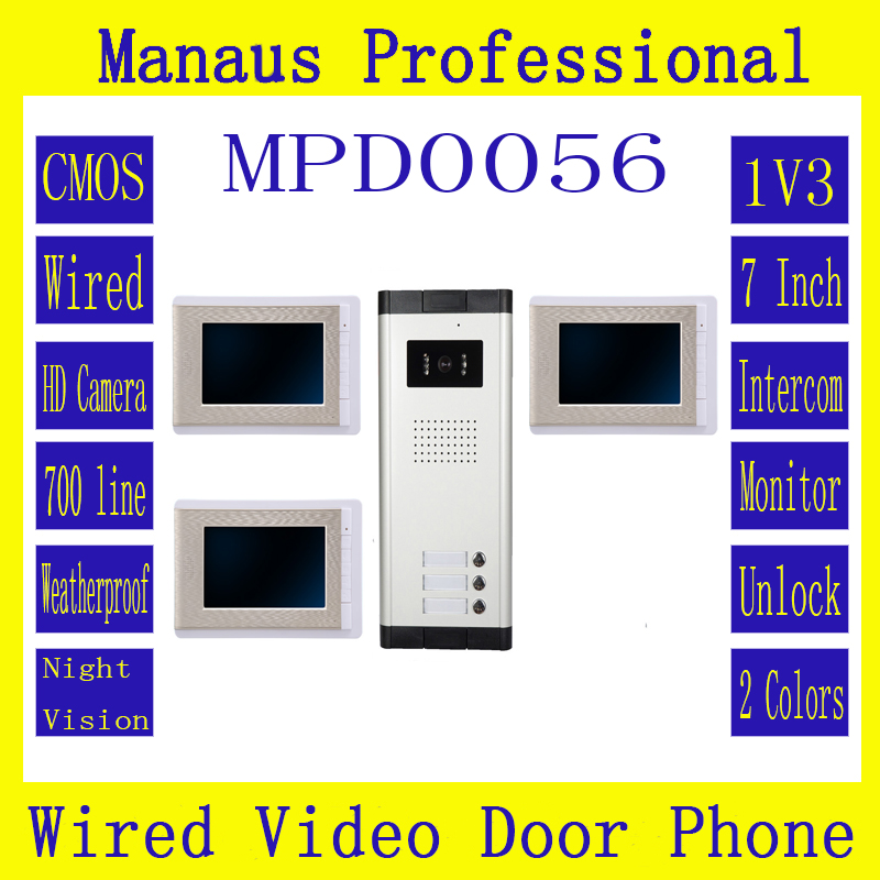 HighQuality Professional Smart Home 7 Inch Screen Touch Video Intercom Phone,One To Three Video Doorphone Kit Configuration D56b