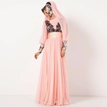 2016 Pink Appliques Long Sleeves Dubai Muslim Kaftan Abayas Arabic Evening Robe Islamic Dresses For Woman Hijab Evening Dresses