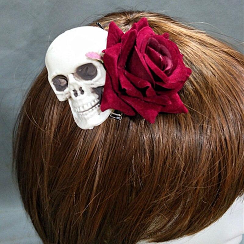 Handmade Lolita Gothic Skeleton Skull Rose Headwear Hairpin Prop Accessory Cosplay Halloween  1