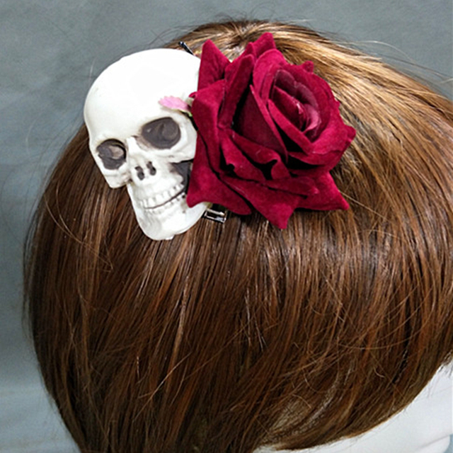 Handmade Lolita Gothic Skeleton Skull Rose Headwear Hairpin Prop Accessory Cosplay Halloween  1
