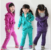 Free Shipping 2015 New Arrival Hot Sale Autumn Winter Girls Velvet Clothes Sets Long Sleeve Pants