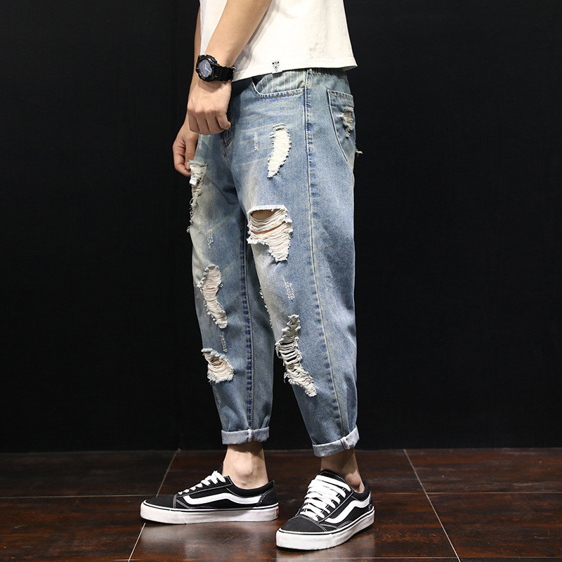 New Summer Loose Men's Harem Pants Jeans Fashion Casual Washed Ripped Distressed Holes Jeans Denim Trousers Large Size 28-42