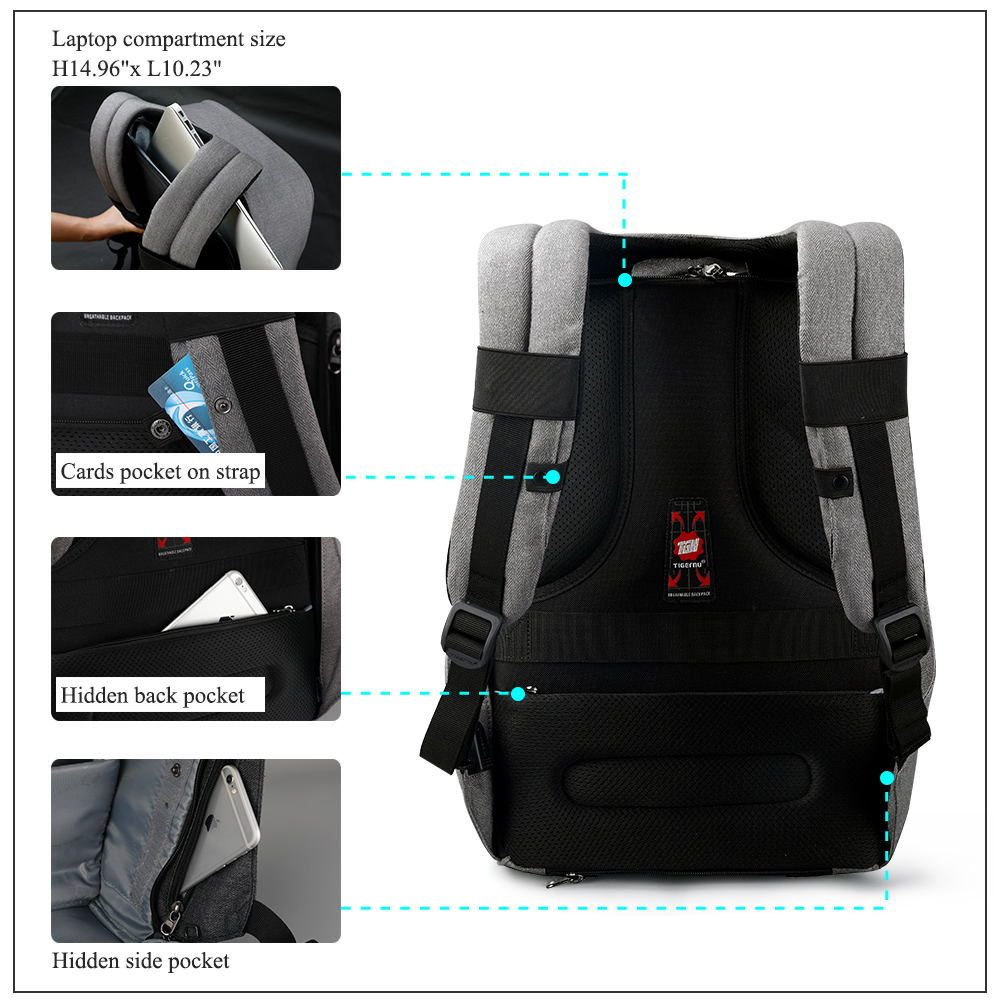 Tigernu Anti Theft 15.6inch Laptop Backpacks With Rain Cover Casual Hard Shell Men Women Mochila School Bags For Teenagers #3