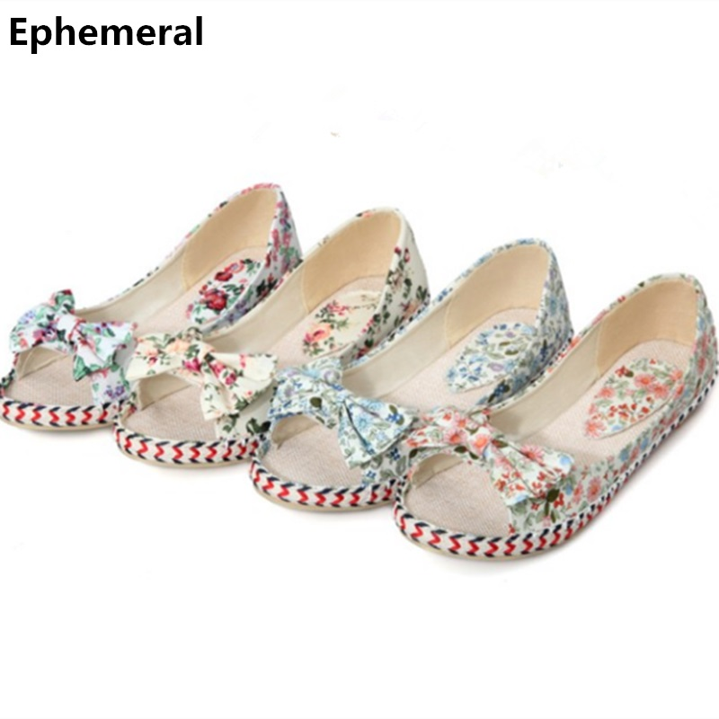 Lady's Bow Plus size 34-43 Cloth Weaving Peep Toe Women Single Shoes On Flats Prenant Driving Dancing Footwear Printing Floral vintage embroidery women flats chinese floral canvas embroidered shoes national old beijing cloth single dance soft flats