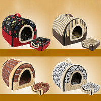 Draagbare Opvouwbare Hond Puppy Kat Huis Kennel Nest Zacht Bed met Mat Voor S/M Huisdier Comfortabel Reizen Bed Tent 4 PatternsPatt