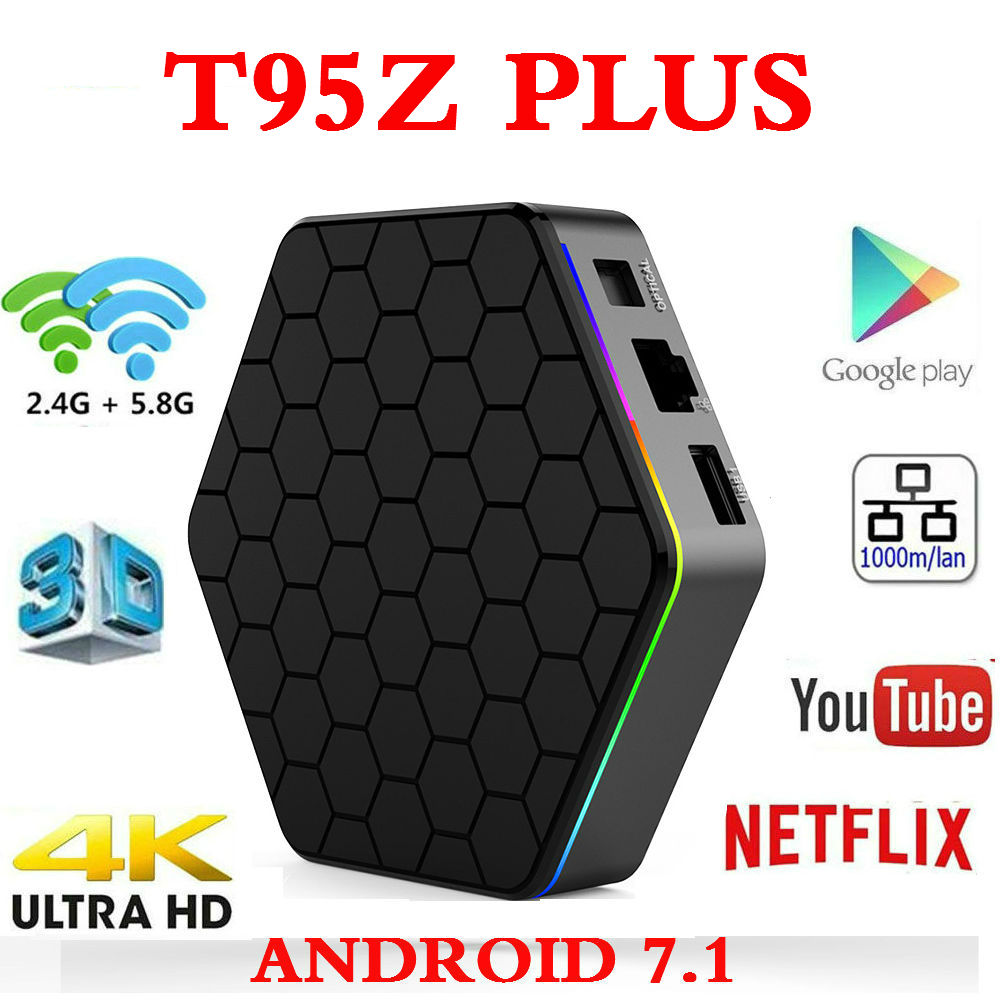 Originale T95Z plus. Android 7.1 TV BOX Amlogic S912 4 k Set Top box OctaCore 2 gb/3 gb 16 gb/32 gb Dual WiFi T95Z Smart media Player