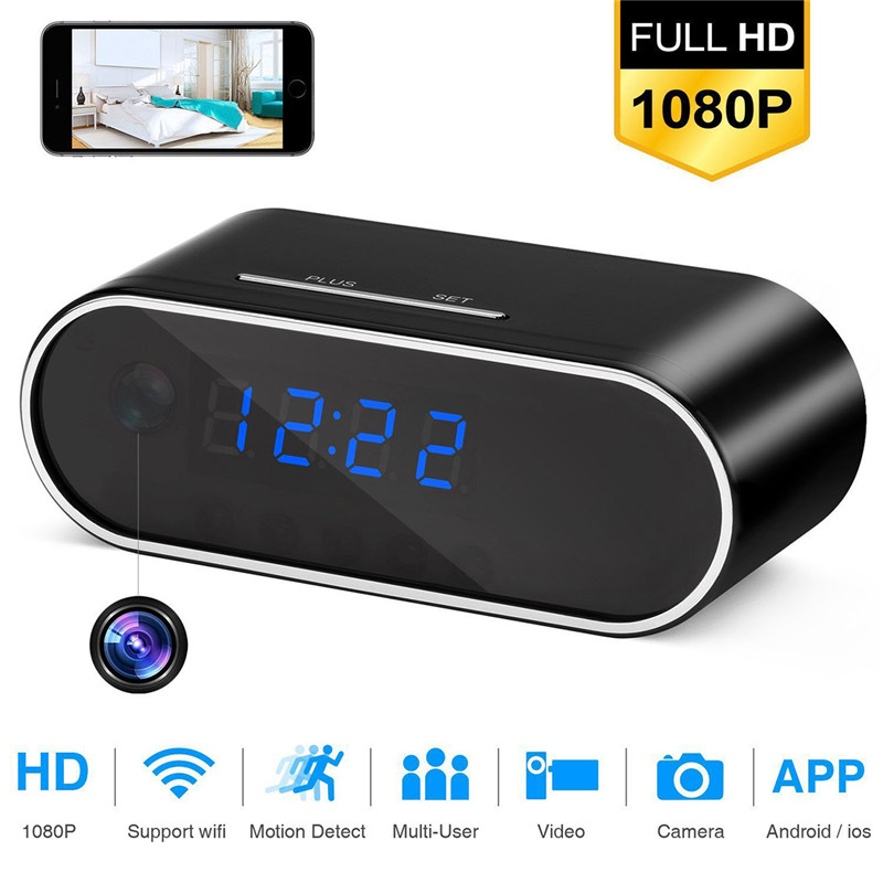 SOONHUA Z10 Table Clock 1080P HD Mini Camera Alarm Setting Camera IR Night Vision Wireless Wifi Clock Camera Mini DVR Camcorder