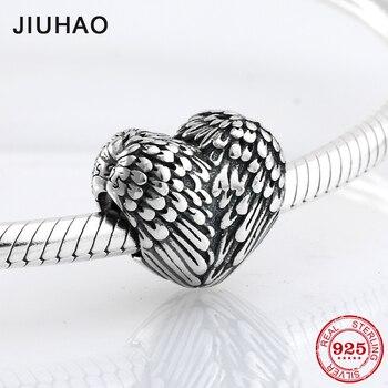 Nieuwe 925 Sterling Zilver angel wing hart vorm kralen Fit Originele Pandora Bedelarmband Sieraden maken