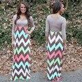 Alta Qualidade 2015 Brand NEW Style Verão Womens Stripe Imprimir Longos Vestidos O-pescoço vestido de Praia Maxi Vestido de Verão Plus Size S-XL 31