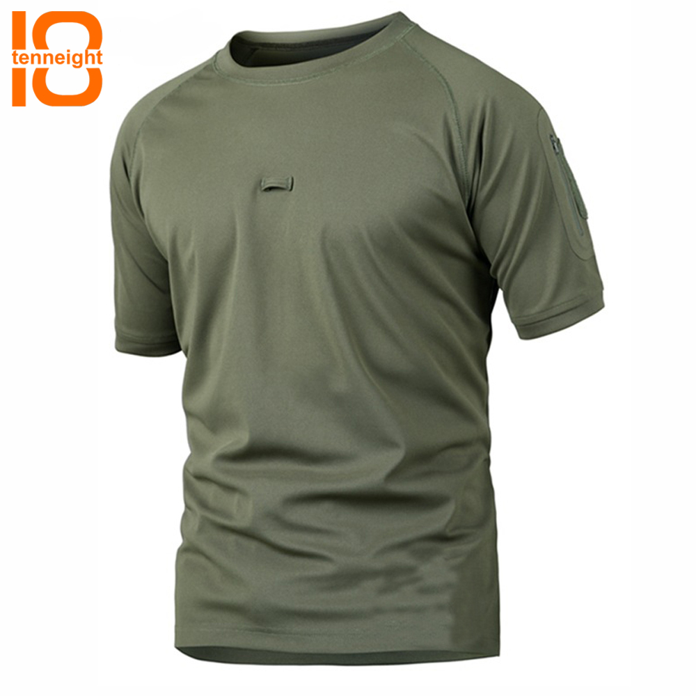 TENNEIGHT Men Tactical T Shirt Short Sleeve Quick Dry men's sports T Shirts Dropshipping Breathable Camouflage Hunting Tee Shirt