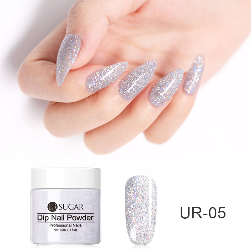 UR SUGAR Dipping Nail Powders Nail Dipping System Set Natural Color Holographic Glitter Dry Without Lamp Cure French Nails Decor