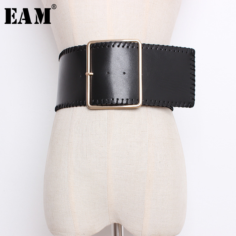 [EAM] 2019 New Spring Summer Solid Color Black Metal Buckle Hand Wrapped Wire Stitch Pu Leather Long Belt Women Fashion JK513