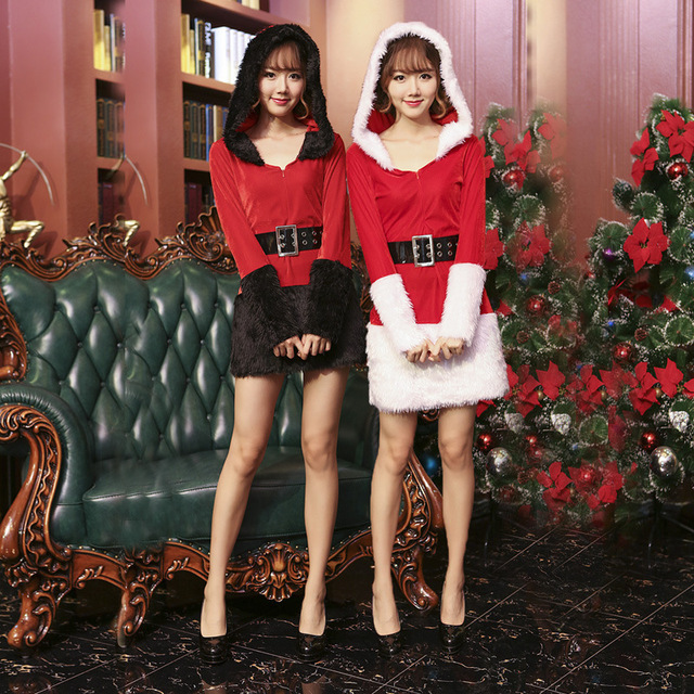 287360332e2df 2017 New Women Christmas Dress Sexy Ladies White Black Santa Costume Women  Mrs Party Fancy Two Parts Dress Cosplay Suit
