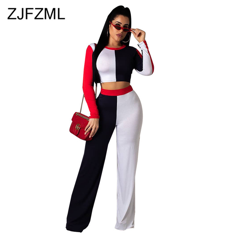 Contrast Color 2 Piece Outfits For Women O Neck Long Sleeve Crop Top And Wide Leg Pant  Sweatsuit Casual Two Piece Matching Sets