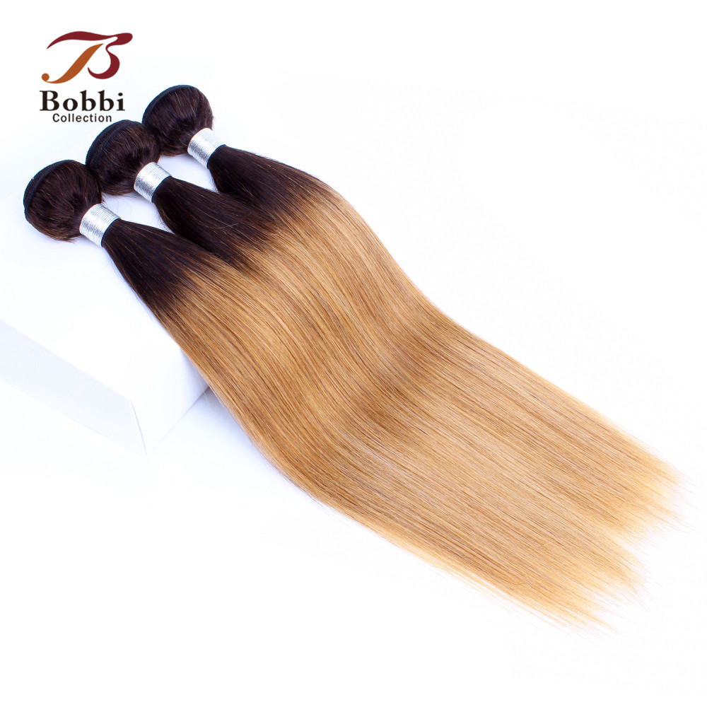 Bobbi Collection 2 3 Bundles T 4 30 27 Dark Brown Root Honey Blonde Ombre Straight