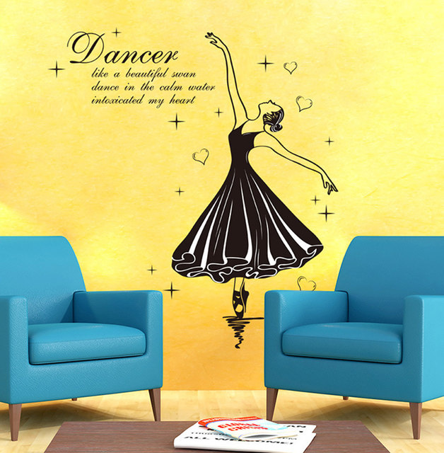 Online Shop Ballet Dancer Wall Stickers Music Room Dancing Room ...