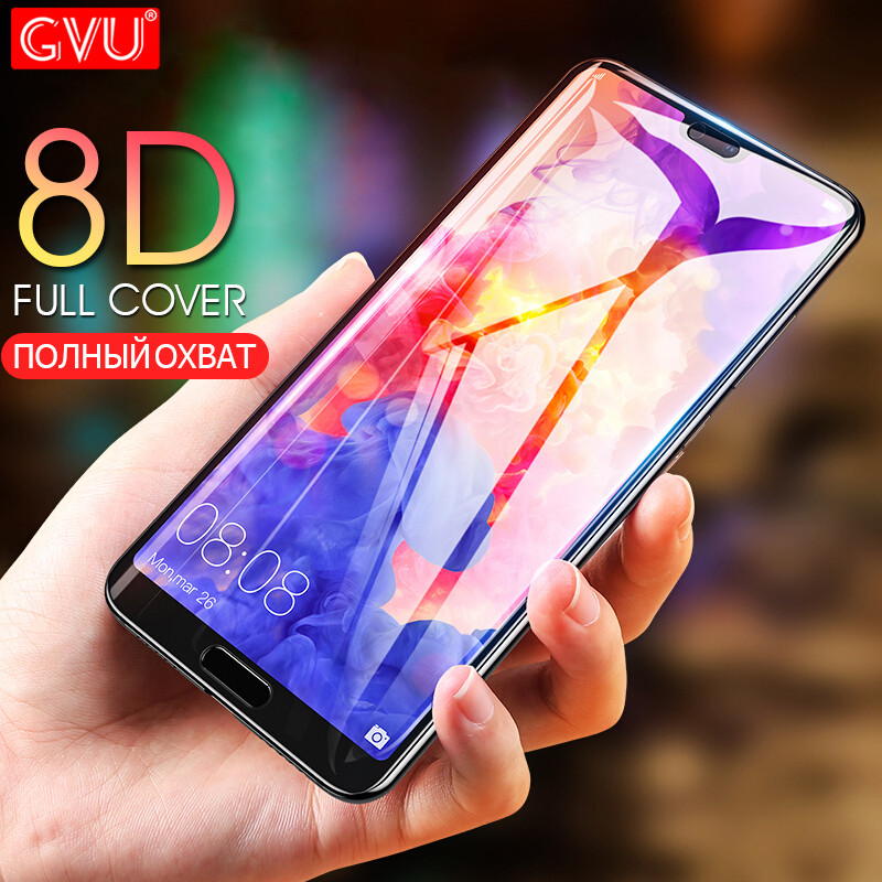 GVU 8D מלא כיסוי מזג זכוכית על עבור Huawei P20 P10 לייט פרו מסך מגן עבור Huawei Honor 8 9 לייט מגן זכוכית