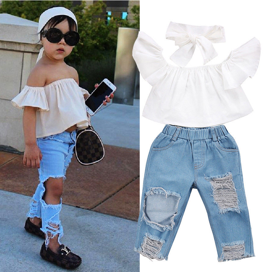 Little Girls Street Style 3 Pcs Clothing Set Toddler Girls Kids Off Shoulder Tops Ripped Jeans Denim Pants Outfits Clothes 1-6T 2pcs children outfit clothes kids baby girl off shoulder cotton ruffled sleeve tops striped t shirt blue denim jeans sunsuit set