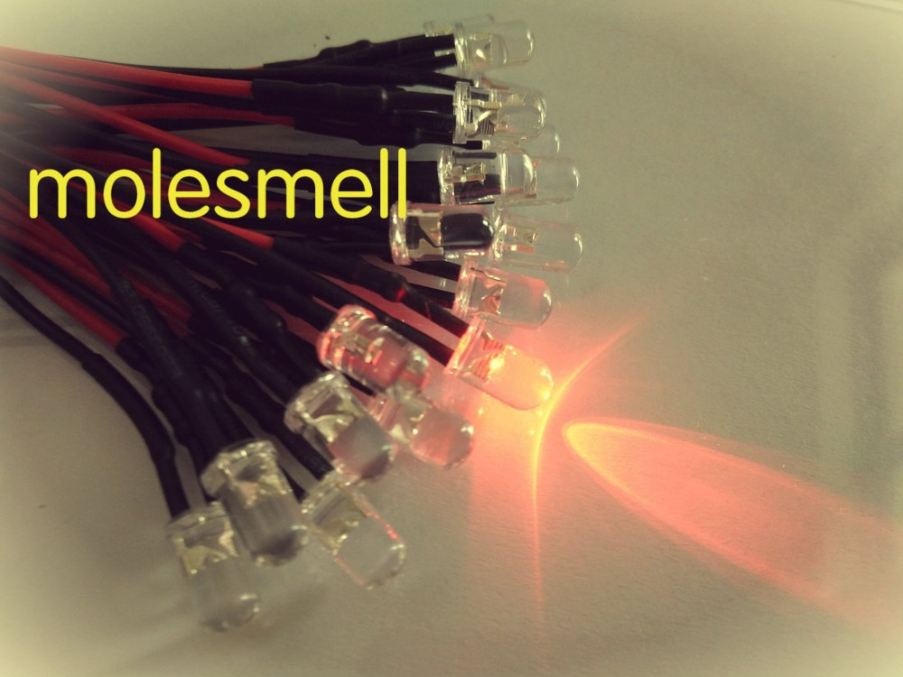 50pcs 5mm Red 12V DC Pre-Wired Water Clear Bright LED round Leds Light Bulb 20CM led lamp