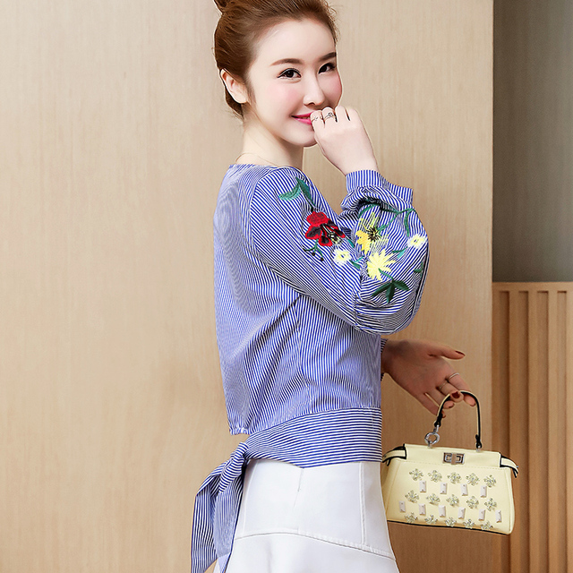 Embroidered women shirt bow striped Long sleeves blouses  2