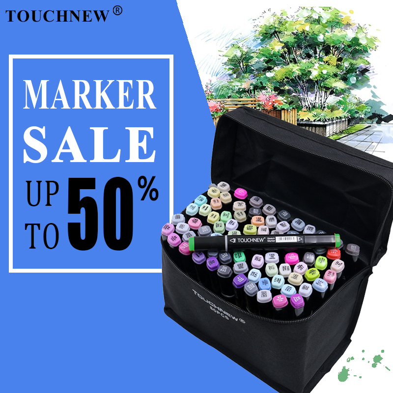 TOUCHNEW 30/40/60/80 Color Markers Manga Drawing Markers Pen Alcohol Based Sketch Oily Dual Brush Pen Art SuppliesTOUCHNEW 30/40/60/80 Color Markers Manga Drawing Markers Pen Alcohol Based Sketch Oily Dual Brush Pen Art Supplies