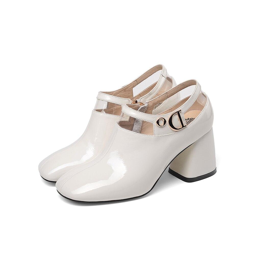 LEEPO chaussures pour femmes en cuir véritable femme talons hauts chaussures printemps bout carré chaussures dames talons blancs avec des talons épais - 4