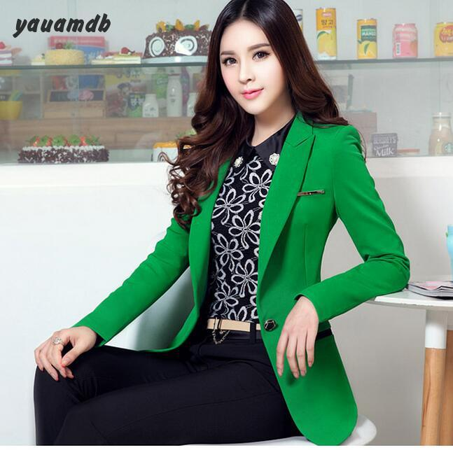 women blazer 2017 spring autumn female cotton suits Solid office wear slim  Jacket mujer brand outerwear casual green coat y75-in Blazers from Women s  ... f6aabcfd4