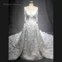 Luxury Floral Cathedral Train Boat Neck Beaded Lace 3/4 Sleeve Wedding Dresses 2018 Isreal Royal Church Bridal Gown Custom Made