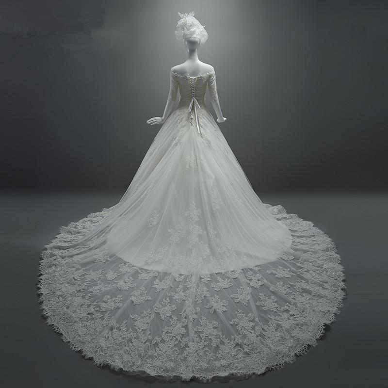 MZYW0068 Off Shoulder Half Sleeve Long Train Lace Wedding