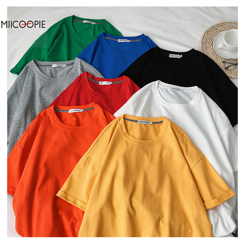 Miicoopie 2019 Summer Mens Cotton T-shirt Solid Color Oversize T-shirt 8 Colors Available