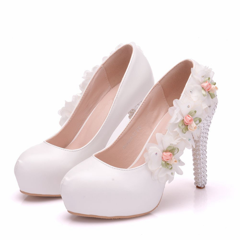 Women 39 s Pumps Super High Heels Spring Autumn Flowers 2019 New Sexy Fashion Casual Party Wedding White Shoes Big Size XY A0317 in Women 39 s Pumps from Shoes