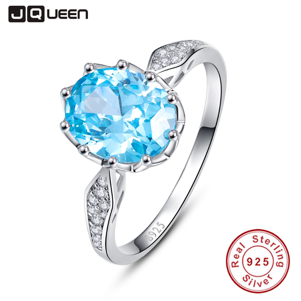 JQUEEN 4ct Blue Topaz Gem Stone Rings 925 Sterling Silver Oval Cut bijoux anel female Ring for Women Fine Jewelry With Gift box